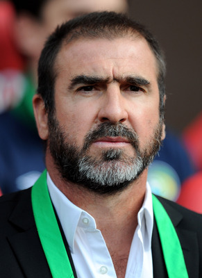 MANCHESTER, ENGLAND - AUGUST 05:  New York Cosmos Manager Eric Cantona looks on prior to Paul Scholes' Testimonial Match between Manchester United and New York Cosmos at Old Trafford on August 5, 2011 in Manchester, England.  (Photo by Chris Brunskill/Get