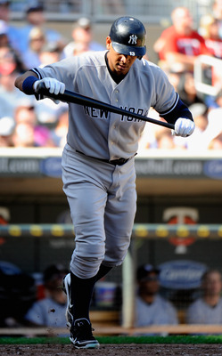 MINNEAPOLIS, MN - AUGUST 21: Alex Rodriguez #13 of the New York Yankees reacts to flying out in the ninth inning against the Minnesota Twins on August 21, 2011 at Target Field in Minneapolis, Minnesota. The Yankees defeated the Twins 3-0. (Photo by Hannah