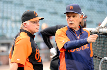 BALTIMORE, MD - AUGUST 12:  Manager Jim Leyland #10 of the Detroit Tigers talks with manager Buck Showalter #26 of the Baltimore Orioles before the game at Oriole Park at Camden Yards on August 12, 2011 in Baltimore, Maryland.  (Photo by Greg Fiume/Getty