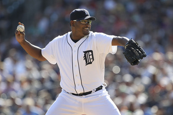 DETROIT - AUGUST 21:  Jose Valverde #46 of the Detroit Tigers pitches in the ninth inning during the game against the Cleveland Indians at Comerica Park on August 21, 2011 in Detroit, Michigan.  The Tigers defeated the Indians 8-7.  (Photo by Leon Halip/G