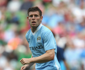 DUBLIN, IRELAND - JULY 31:  James Milner of Manchester City looks on during the Dublin Super Cup match between Inter Milan and Manchester City at the Aviva Stadium on July 31, 2011 in Dublin, Ireland.  (Photo by David Rogers/Getty Images)