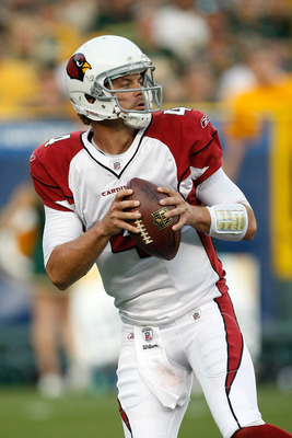 GREEN BAY, WI - AUGUST 19: Kevin Kolb #4 of the Arizona Cardinals passes against the Green Bay Packers in a preseason game at Lambeau Field on August 19, 2011 in Green Bay, Wisconsin. (Photo by Scott Boehm/Getty Images)