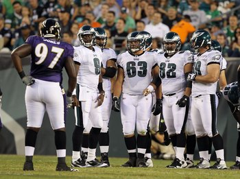 PHILADELPHIA, PA - AUGUST 11:  Danny Watkins #63 of the Philadelphia Eagles looks on against the Baltimore Ravens during their pre season game on August 11, 2011 at Lincoln Financial Field in Philadelphia, Pennsylvania.  (Photo by Jim McIsaac/Getty Images