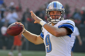 CLEVELAND, OH - AUGUST 19: Starting quarterback Matthew Stafford #9 of the Detroit Lions warms up prior to the game between the Cleveland Browns and the Detroit Lions at Cleveland Browns Stadium on August 19, 2011 in Cleveland, Ohio. (Photo by Jason Mille