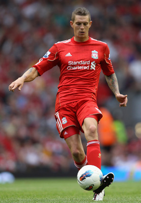 LIVERPOOL, ENGLAND - AUGUST 13:  Daniel Agger of Liverpool in action during the Barclays Premier League match between Liverpool and Sunderland at Anfield on August 13, 2011 in Liverpool, England.  (Photo by Clive Brunskill/Getty Images)