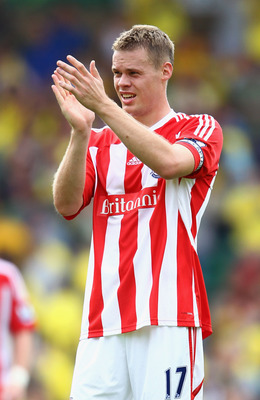 NORWICH, ENGLAND - AUGUST 21:  Ryan Shawcross of Stoke thanks the support after the Barclay's premier league match between Norwich and Stoke City at Carrow Road on August 21, 2011 in Norwich, England.  (Photo by Julian Finney/Getty Images)