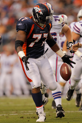 DENVER, CO - AUGUST 20:  Defensive tackle Brodrick Bunkley #77 of the Denver Broncos in action against the Buffalo Bills at Sports Authority Field at Mile High on August 20, 2011 in Denver, Colorado. (Photo by Justin Edmonds/Getty Images)