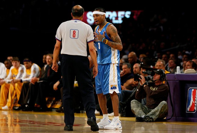 LOS ANGELES, CA - APRIL 23:  Referee Luis Grillo talks to Allen Iverson #3 of the Denver Nuggets in the second half against the Los Angeles Lakers in Game Two of the Western Conference Quarterfinals during the 2008 NBA Playoffs on April 23, 2008 at Staple