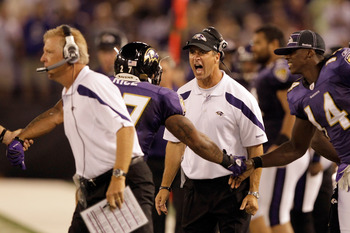BALTIMORE, MD - AUGUST 19: Head coach John Harbaugh of the Baltimore Ravens reacts with running back Ray Rice #27 after Rice scored against the Kansas City Chiefs during the first half of a preseason game at M&T Bank Stadium on August 19, 2011 in Baltimor