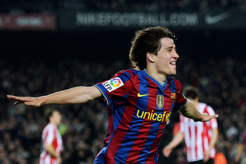 BARCELONA, SPAIN - APRIL 03:  Bojan Krkic of FC Barcelona celebrates scoring his side's second goal during the La Liga match between Barcelona and Athletic Bilbao at the Camp Nou Stadium on April 3, 2010 in Barcelona, Spain.  (Photo by Jasper Juinen/Getty