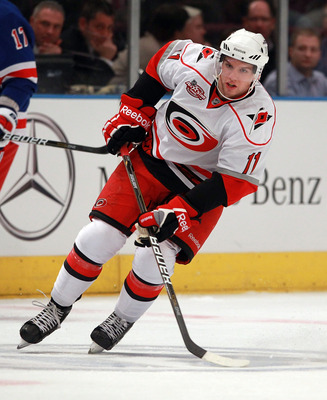 NEW YORK, NY - JANUARY 05:  Zach Boychuk #11 of the Carolina Hurricanes skates against the New York Rangers at Madison Square Garden on January 5, 2011 in New York City. The Rangers defeated the Hurricanes 2-1 in overtime.  (Photo by Bruce Bennett/Getty I