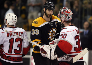 BOSTON - MAY 14: Zdeno Chara #33 of the Boston Bruins shakes hands with Cam Ward #30 of the Carolina Hurricanes after Game Seven of the Eastern Conference Semifinal Round of the 2009 Stanley Cup Playoffs on May 14, 2009 at the TD Banknorth Garden in Bosto