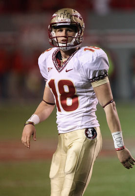 RALEIGH, NC - OCTOBER 28:  Dustin Hopkins #18 of the Florida State Seminoles against the North Carolina State Wolfpack during their game at Carter-Finley Stadium on October 28, 2010 in Raleigh, North Carolina.  (Photo by Streeter Lecka/Getty Images)