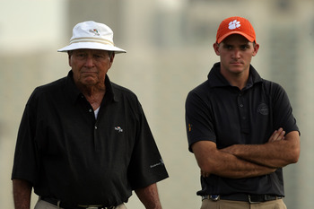 CHAMPIONS GATE, FLORIDA - DECEMBER 01:  Arnold Palmer at the 14th hole with his grandson Sam Saunders during the first round of the 2007 Del Webb Father Son Challenge on the International Course at Champions Gate Golf Club, on December 1, 2007 in Champion