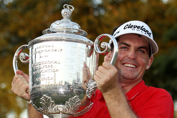 JOHNS CREEK, GA - AUGUST 14:  Keegan Bradley poses with the Wanamaker Trophy after winning a three-hole playoff over Jason Dufner during the final round of the 93rd PGA Championship at the Atlanta Athletic Club on August 14, 2011 in Johns Creek, Georgia.