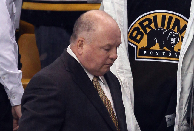 BOSTON, MA - DECEMBER 18:  Head coach Bruce Boudreau of the Washington Captials walks off the bench after the game against the Boston Bruins on December 18, 2010 at the TD Garden in Boston, Massachusetts. The Bruins defeated the Capitals 3-2.  (Photo by E