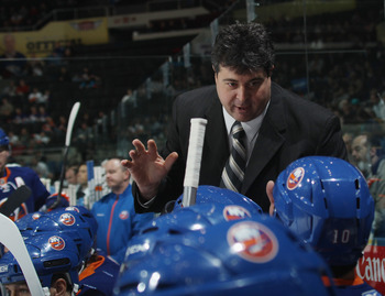 UNIONDALE, NY - NOVEMBER 17:  Head coach Jack Capuano of the New York Islanders works the bench during his first NHL game against the Tampa Bay Lightning at the Nassau Coliseum on November 17, 2010 in Uniondale, New York.  (Photo by Bruce Bennett/Getty Im