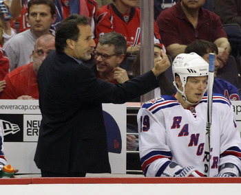WASHINGTON, DC - APRIL 15: New York Rangers head coach John Tortorella signals players late in the third period against the Washington Capitals in Game Two of the Eastern Conference Quarterfinals during the 2011 NHL Stanley Cup Playoffs at Verizon Center