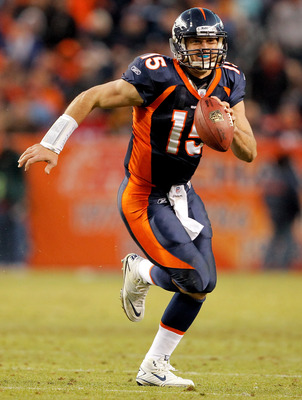 DENVER - DECEMBER 26:  Quarterback Tim Tebow #15 of the Denver Broncos runs against the Houston Texans during the fourth quarter at INVESCO Field at Mile High on December 26, 2010 in Denver, Colorado.  The Denver Broncos defeated the Houston Texans 24-23.