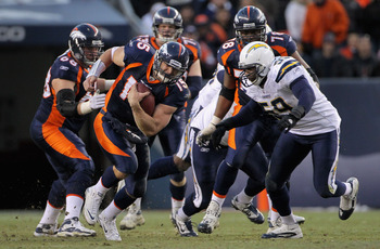 DENVER - JANUARY 02:  Quarterback Tim Tebow #15 of the Denver Broncos rushes with the ball as linebacker Brandon Siler #59 of the San Diego Chargers moves in for the tackle at INVESCO Field at Mile High on January 2, 2011 in Denver, Colorado. The Chargers