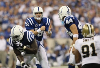 INDIANAPOLIS - SEPTEMBER 06:  Quarterback Peyton Manning #18 of the Indianapolis Colts calls an audible against the New Orleans Saints in the first NFL game of the season at the RCA Dome on September 6, 2007 in Indianapolis, Indiana.  (Photo by Jamie Squi