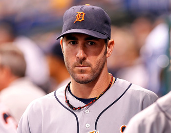 ST. PETERSBURG, FL - AUGUST 22:  Pitcher Justin Verlander #35 of the Detroit Tigers walks the dugout during the game against the Tampa Bay Rays at Tropicana Field on August 22, 2011 in St. Petersburg, Florida.  (Photo by J. Meric/Getty Images)