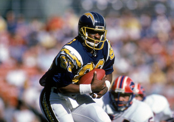 SAN DIEGO - DECEMBER 1:  Wide receiver Wes Chandler #83 of the San Diego Chargers runs with the ball during a game against Buffalo Bills at Jack Murphy Stadium on December 1, 1985 in San Diego, California.  The Chargers won 40-7.  (Photo by George Rose/Ge