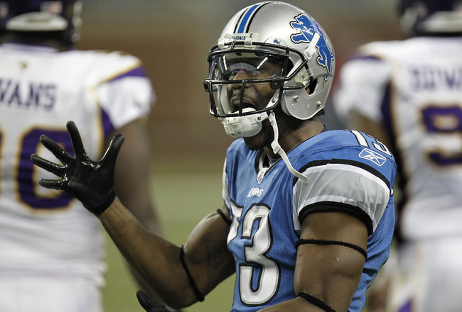 DETROIT, MI - JANUARY 02: Nate Burleson #13 of the Detroit Lions reacts after a second quarter first down catch while playing the Minnesota Vikings at Ford Field on January 2, 2011 in Detroit, Michigan.  (Photo by Gregory Shamus/Getty Images)