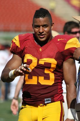 LOS ANGELES, CA - SEPTEMBER 5:  Shane Horton #23 of the USC Trojans walks off the field after the game against the San Jose State Spartans on September 5, 2009 at the Los Angeles Memorial Coliseum in Los Angeles, California.  USC won 56-3.  (Photo by Jeff