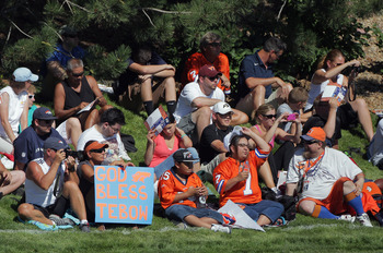 ENGLEWOOD, CO - JULY 28:  Quarterback Tim Tebow of the Denver Broncos is a fan favorite as fans use a sign to show their support during training camp at the Paul D. Bowlen Memorial Broncos Centre at Dove Valley on July 28, 2011 in Englewood, Colorado.  (P