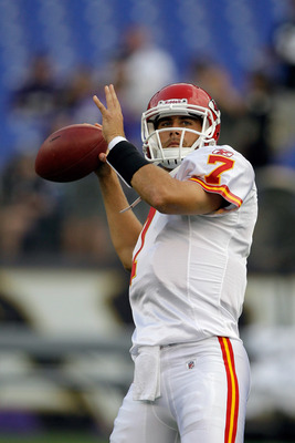 BALTIMORE, MD - AUGUST 19: Quarterback Matt Cassel #7 of the Kansas City Chiefs warms up before the start of a preseason game against the Baltimore Ravens at M&T Bank Stadium on August 19, 2011 in Baltimore, Maryland.  (Photo by Rob Carr/Getty Images)