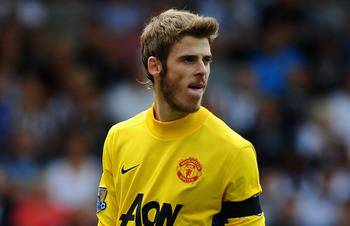 WEST BROMWICH, ENGLAND - AUGUST 14:  Goalkeeper David De Gea of Manchester United looks on during the Barclays Premier League match between West Bromwich Albion and Manchester United at The Hawthorns on August 14, 2011 in West Bromwich, England.  (Photo b