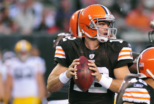 CLEVELAND, OH - AUGUST 13: Starting quarterback Colt McCoy #12 of the Cleveland Browns drops back in the pocket during the first quarter against the Green Bay Packers at Cleveland Browns Stadium on August 13, 2011 in Cleveland, Ohio. The Browns defeated t