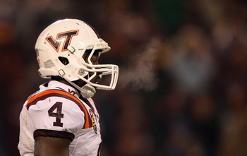 CHARLOTTE, NC - DECEMBER 04:  David Wilson #4 of the Virginia Tech Hokies against the Florida State Seminoles during their game at Bank of America Stadium on December 4, 2010 in Charlotte, North Carolina.  (Photo by Streeter Lecka/Getty Images)