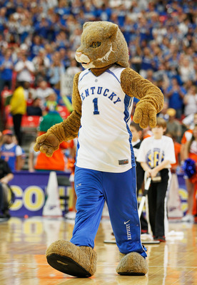 ATLANTA, GA - MARCH 13:  The Wildcat, mascot for the Kentucky Wildcats, performs their 70 to 54 win over the Florida Gators in the championship game of the SEC Men's Basketball Tournament at Georgia Dome on March 13, 2011 in Atlanta, Georgia.  (Photo by K