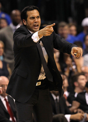 DALLAS, TX - JUNE 09:  Head coach Erik Spoelstra of the Miami Heat coaches in the seocnd half against the Dallas Mavericks in Game Five of the 2011 NBA Finals at American Airlines Center on June 9, 2011 in Dallas, Texas.  NOTE TO USER: User expressly ackn