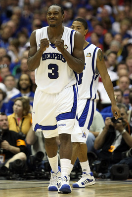 SAN ANTONIO - APRIL 05: Joey Dorsey #3 of the Memphis Tigers reacts in the second half while taking on the UCLA Bruins during the National Semifinal game of the NCAA Men's Final Four at the Alamodome on April 5, 2008 in San Antonio, Texas.  (Photo by Jed