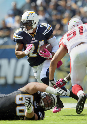SAN DIEGO - OCTOBER 03:  Running back Ryan Mathews #24 of the San Diego Chargers carries the ball during the game against the Arizona Cardinals at Qualcomm Stadium on October 3, 2010 in San Diego, California. The Chargers defeated the Cardinals 41-10.  (P