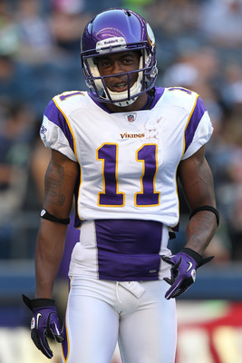SEATTLE - AUGUST 20:  Wide receiver Jaymar Johnson of the Minnesota Vikings looks on prior to the game against the Seattle Seahawks at CenturyLink Field on August 20, 2011 in Seattle, Washington. The Vikings won 20-7. (Photo by Otto Greule Jr/Getty Images