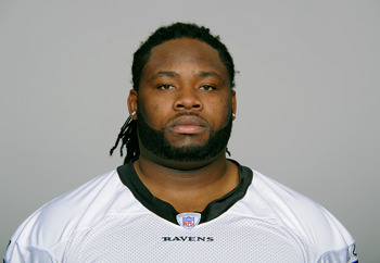 BALTIMORE, MD - CIRCA 2010:  In this handout image provided by the NFL , Oniel Cousins of the Baltimore Ravens poses for his 2010 NFL headshot circa 2010 in Baltimore, Maryland.  ( Photo by NFL via Getty Images)