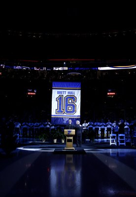ST. LOUIS, MO - DECEMBER 5:  Former St. Louis Blues player Brett Hull and his father Bobby watch Brett's jersey number being raised to the rafters during his jersey retirement ceremony at the Scottrade Center December 5, 2006 in St. Louis, Missouri.  (Pho