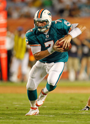 MIAMI GARDENS, FL - AUGUST 19:  Chad Henne #7 of the Miami Dolphins looks to hand off during a Preseason NFL game against the Carolina Panthers at Sun Life Stadium on August 19, 2011 in Miami Gardens, Florida.  (Photo by Mike Ehrmann/Getty Images)