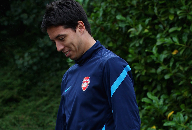 ST ALBANS, ENGLAND - AUGUST 23:  Samir Nasri of Arsenal arrives for a training session ahead of their UEFA Champions League Qualifying second leg match against Udinese at London Colney on August 23, 2011 in St Albans, England.  (Photo by Julian Finney/Get
