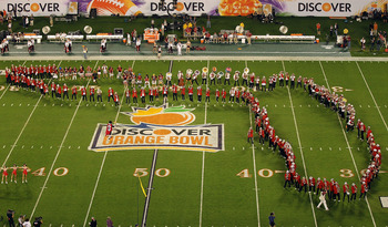 MIAMI, FL - JANUARY 03:  The Stanford Cardinal marching band performs against the Virginia Tech Hokies during the 2011 Discover Orange Bowl at Sun Life Stadium on January 3, 2011 in Miami, Florida.  (Photo by Mike Ehrmann/Getty Images)