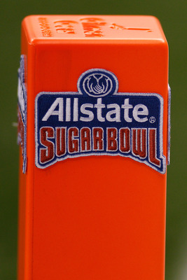 NEW ORLEANS, LA - JANUARY 04:  A detail photo of the pylon during the Allstate Sugar Bowl between the Arkansas Razorbacks and Ohio State Buckeyes at the Louisiana Superdome on January 4, 2011 in New Orleans, Louisiana.  (Photo by Chris Graythen/Getty Imag