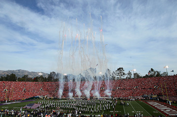 PASADENA, CA - JANUARY 01:  A view of pre-game ceremonies prior to the Wisconsin Badgers and the TCU Horned Frogs playing in the 97th Rose Bowl game on January 1, 2011 in Pasadena, California.  (Photo by Stephen Dunn/Getty Images)