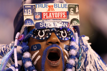 INDIANAPOLIS, IN - JANUARY 08:  A fan of the Indianapolis Colts supports his team against the New York Jets during their 2011 AFC wild card playoff game at Lucas Oil Stadium on January 8, 2011 in Indianapolis, Indiana.  (Photo by Andy Lyons/Getty Images)