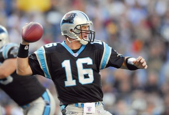 CHARLOTTE, NC - DECEMBER 17: Chris Weinke #16of the Carolina Panthers looks to pass the ball during the game against the Pittsburgh Steelers on December 17, 2006 at Bank of America Stadium in Charlotte, North Carolina. The Steelers defeated the Panthers 3