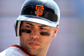 CINCINNATI, OH - JULY 31:  Carlos Beltran #15 of the San Francisco Giants waits to bat during the game against the Cincinnati Reds at Great American Ball Park on July 31, 2011 in Cincinnati, Ohio.  (Photo by Andy Lyons/Getty Images)