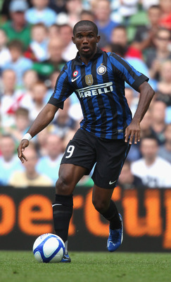 DUBLIN, IRELAND - JULY 31:  Samuel Eto'o of Inter Milan runs with the ball during the Dublin Super Cup match between Inter Milan and Manchester City at the Aviva Stadium on July 31, 2011 in Dublin, Ireland.  (Photo by David Rogers/Getty Images)